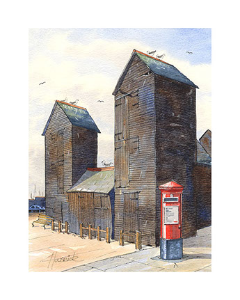 Limited edition print of Hastings Net Shops by Hastings artist Huldrick.