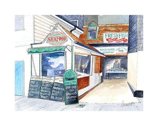 Limited edition print of Rock-A-Nore Fisheries Hastings by Hastings artist Huldrick.