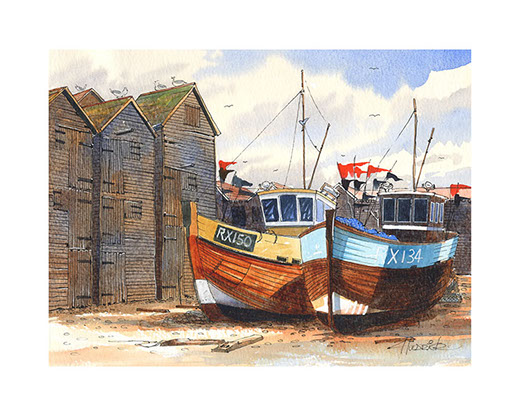 """The Old Timers"". Limited edition print of Hastings trawlers by Hastings artist Huldrick."