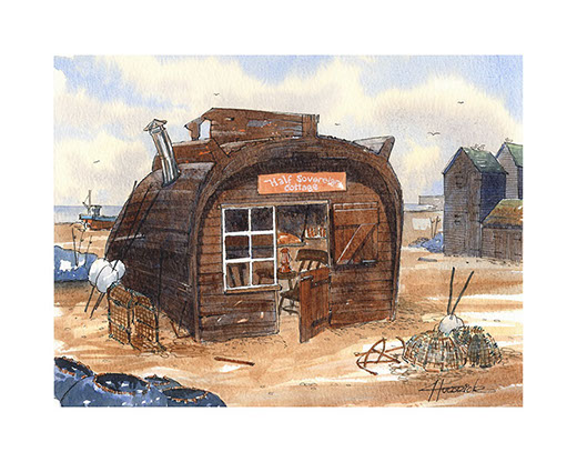 Limited edition print of Half Sovereign Cottage by Hastings artist Huldrick.