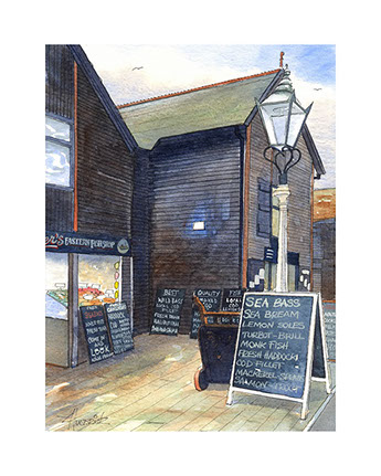 Limited edition print of Hastings Fish Market by Hastings artist Huldrick.