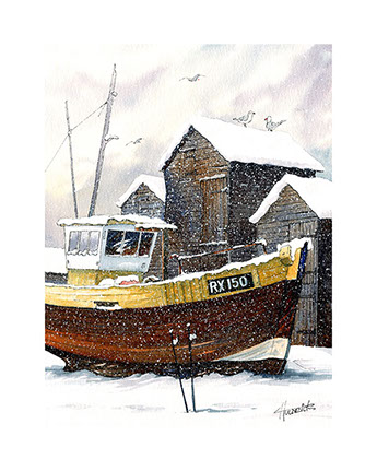 Winters Rest. Limited edition print of Hastings Fishing Trawler by Hastings artist Huldrick.