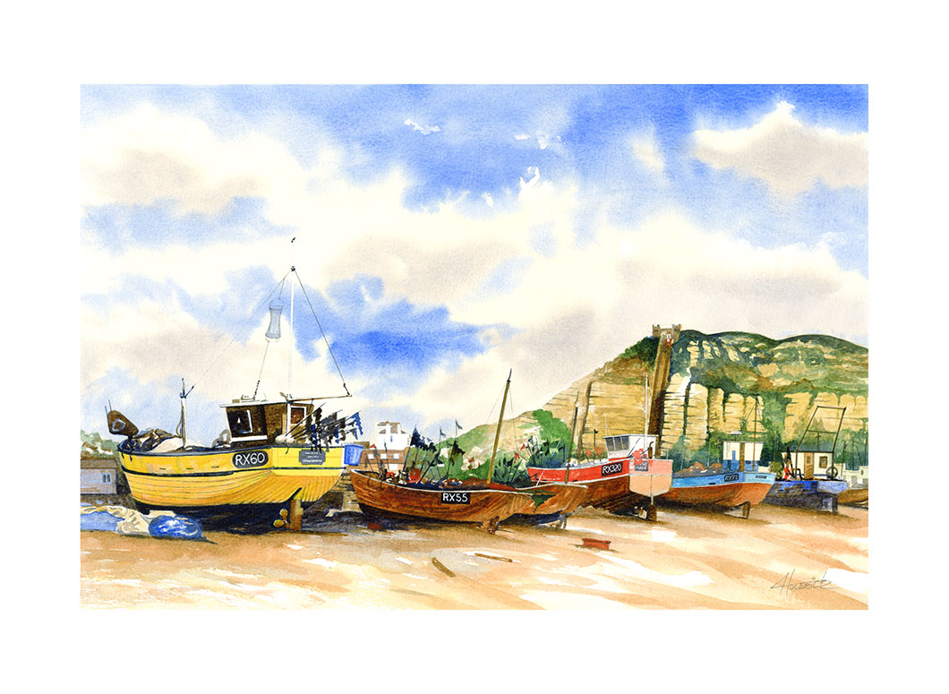 Limited edition print of Hastings Fishing Beach and The East Hill Lift by Hastings artist Huldrick.