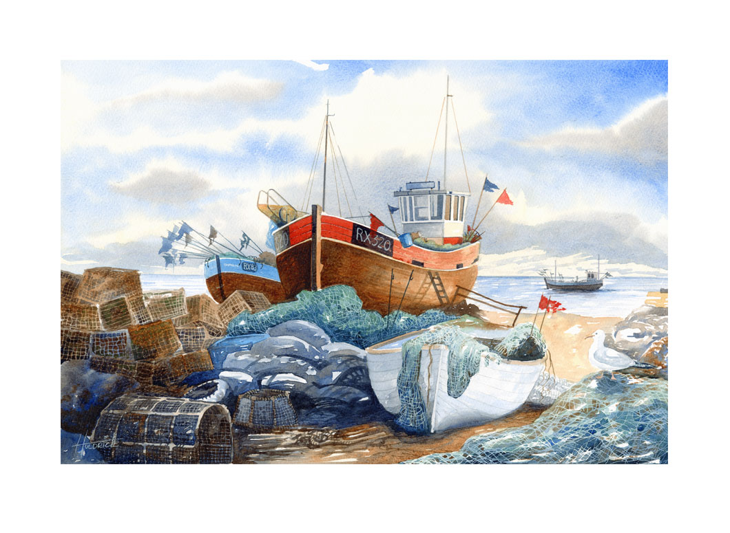 Limited edition print of Hastings trawler on the Stade by Hastings artist Huldrick.