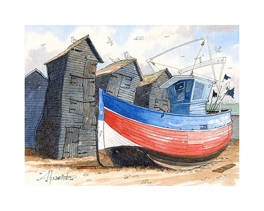 """Red, White and Blue"". Limited edition print of Hastings trawler by Hastings artist Huldrick."
