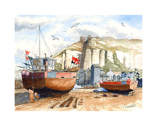 """East Hill lift and the Beach"". Limited edition print of Hastings Stade by Hastings artist Huldrick."