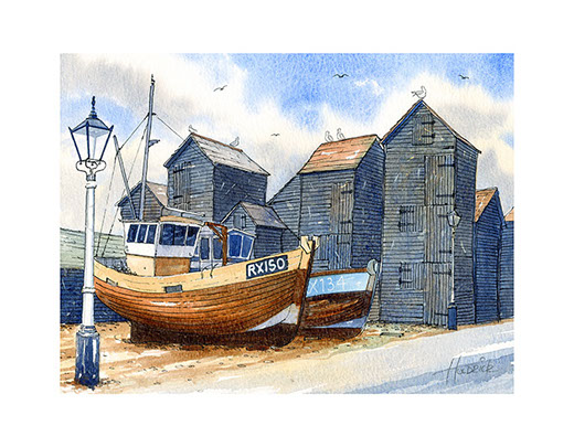 """Hastings Trawlers and Net Shops"". Limited edition print of Hastings Stade by Hastings artist Huldrick."
