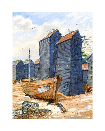 """Left high and dry"". Limited edition print of Hastings trawlers and net shops by Hastings artist Huldrick."