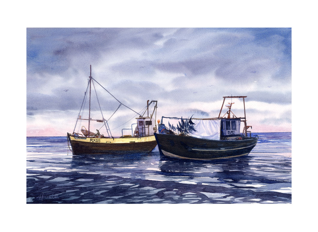 """Waiting for the Morning Tide"". Limited edition print of Hastings trawlers at dawn by Hastings artist Huldrick."