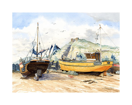 """The Stade · Hastings"". Limited edition print of Hastings Stade by Hastings artist Huldrick."