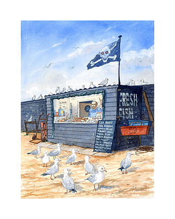 """We've got Customers!"". Limited edition print of Hastings fish market stalls by Hastings artist Huldrick."