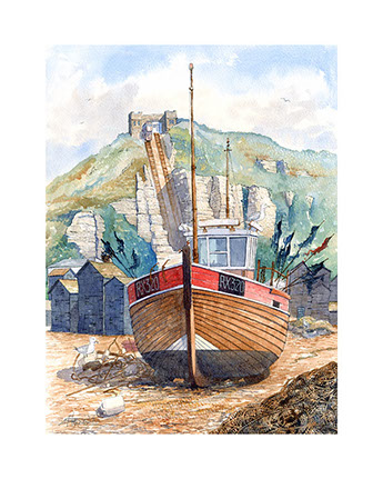Limited edition print of Hastings trawler by Hastings artist Huldrick.