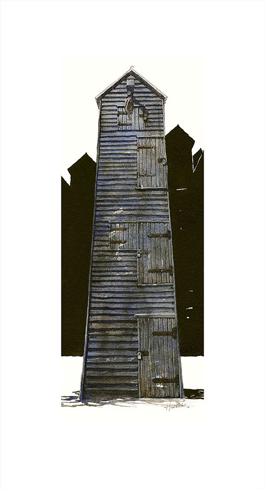 Standing Tall limited edition print of Hastings Net Shops by Hastings artist Huldrick.