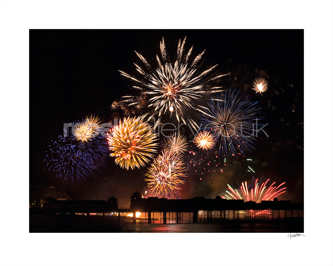 Photograph of Hastings Pier fireworks during Hastings Day celebrations.