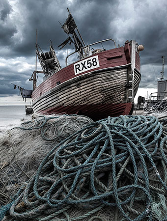 """Old Rope"". Photograph of Hastings trawler RX58 by Hastings Photographer Jon ""Huldrick' Wilhelm."